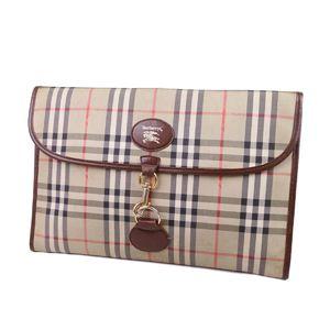Burberry Burberrys Horse Ferry Check Clutch Bag Second Canvas Leather Beige Brown Men's Women's 鞄 Vintage