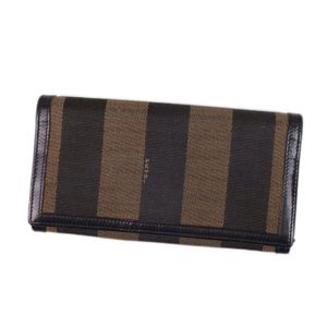 Fendi FENDI pecan canvas leather clamshell long wallet made in Italy Long brown black women's