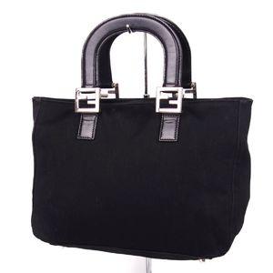 Fendi FENDI Italian Ladies Jersey Handbag Leather Bag 鞄 Black
