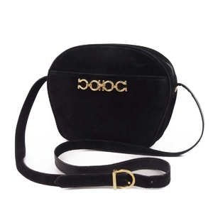 Salvatore Ferragamo Gancini Suede Shoulder Bag Ladies Made In Italy Black Gold Fashion