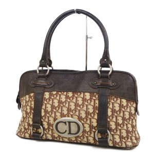 Christian Dior Christian Trotter Handbag Canvas Leather Brown Ivory Ladies Bag Vintage