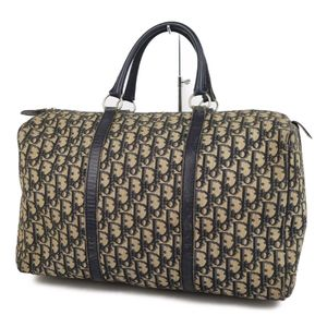 Christian Dior Trotter Boston Bag Handbag Canvas Leather French Ladies Vintage