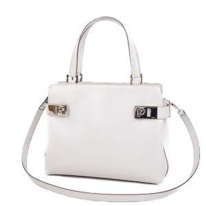 Salvatore Ferragamo Mini Gancini 2way Handbag Shoulder Bag White Gray Ladies Italian bag