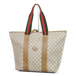 f730ec5829a511 Old Gucci Plus GUCCI GG Pattern Shelly Line Tote Bag Made in Italy Beige  Light Brown