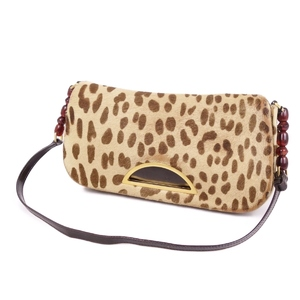 Christian Dior Christian Made in Italy Maris Pearl Haraco Leopard Shoulder Bag ベ ー ジ ュ Beige Brown Ladies