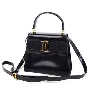 Salvatore Ferragamo Vala Ribbon 2way Handbag Shoulder Black Gold Women's Bag Italian Made
