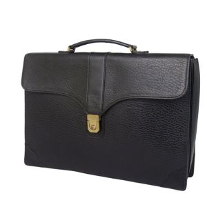 Burberry Burberrys Men's Leather Briefcase Business Bag Black Document
