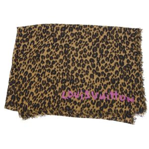 Louis Vuitton LOUIS VUITTON Stole Etole Leopard M72215 cashmere silk blend Brown Domestic genuine Italian made ladies