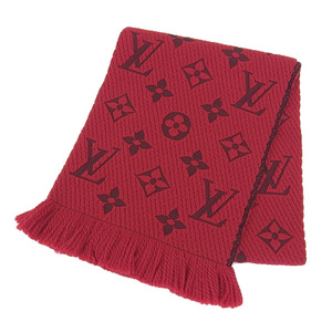 NET Genuine LOUIS VUITTON Muffler Monogram Logo Red
