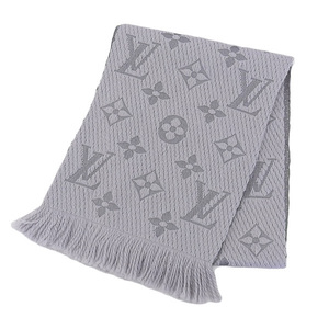 NET Genuine LOUIS VUITTON Muffler Monogram Logo Gray