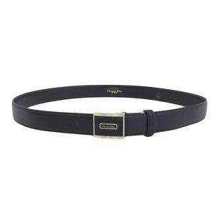 Genuine Christian Dior Logo Buckle Leather Belt Black