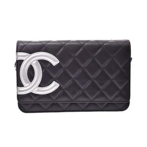 シャネル(Chanel) シャネル カンボンライン チェーンウォレット 黒/シルバー レディース ラムスキン ABランク CHANEL 中古 銀蔵