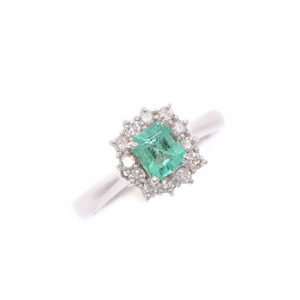 Ring # 9 Women's PT900 Emerald 0.45ct Diamond 0.20ct 3.7g A rank Beauty goods Used Ginzo