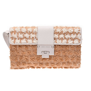 Jimmy Choo Clutch Bag Beige / White Ladies Raffia Leather