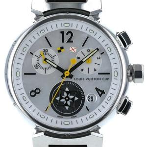 LOUIS VUITTON レディース腕時計 ラブリーカップMM タンブール SS レザー シェル シルバー Q132C クオーツ  iw mo