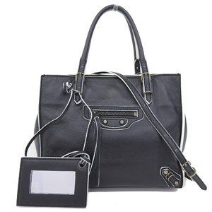 Balenciaga BALENCIAGA Paper Mini 2WAY Tote Bag Leather Black White 305572