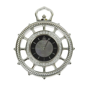 Seiko SEIKO Credor Pocket Watch K18 Diamond Bezel Shell Dial 4J80 0030