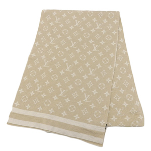 Louis Vuitton LOUIS VUITTON Monogram Muffler Cashmere Beige