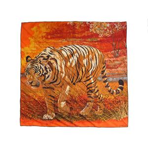 エルメス (Hermes) エルメス カレ90 ベンガルの虎 スカーフ シルク100% オレンジ 0114   HERMES