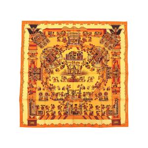 エルメス (Hermes) エルメス カレ90 ASTRES et SOLEILS 天体と太陽 シルク100% オレンジ イエロー スカーフ 0096   HERMES