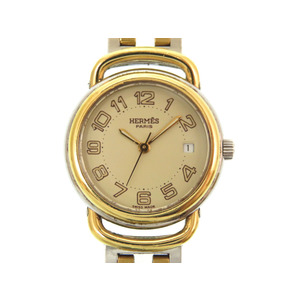 Hermes Pullman Quartz Watch PU 2.240 Combi Silver / Gold 0144 HERMES Ladies