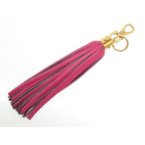 Salvatore Ferragamo Fringe Bag Charm Leather Key Holder Pink 0116 Salvatore