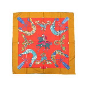 エルメス (Hermes) エルメス SAMOURAI 侍 サムライ シルク100% オレンジ スカーフ 0097   HERMES