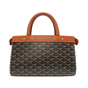 Gojar Jersey PM Leather PVC Brown Black Handbag Bag Tea 0184 GOYARD