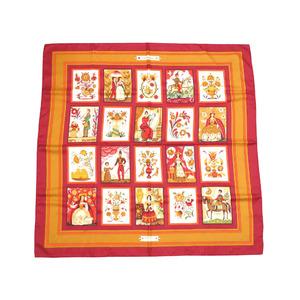 エルメス (Hermes) エルメス カレ90  imagerie 大衆版画 シルク スカーフ レッド系 0065 HERMES