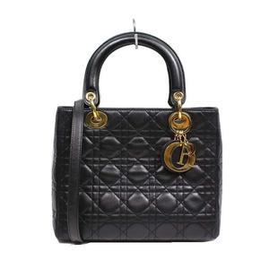 Dior Christian Lady 2WAY handbag CAL44550 Lamb Black