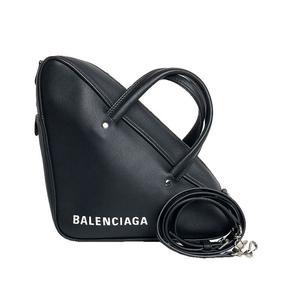Balenciaga BALENCIAGA Triangle Duffel S 476975 Calfskin Noir 2WAY Handbag Shoulder Bag Women