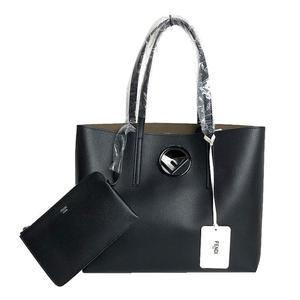 FENDI shopping logo tote 8BH 348 calf leather black women