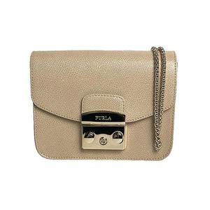 Furla FURLA Metropolis Mini Crossbody 851163 Leather Suede Light Beige Gold Hardware Shoulder Bag Women