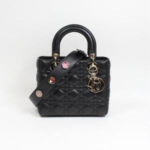 Christian Dior My Lady Lambskin Black Handbag Ladies