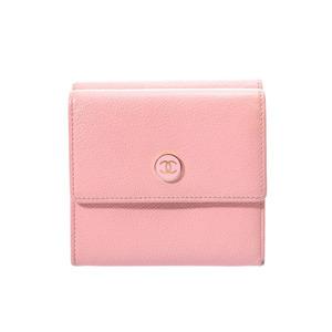 シャネル(Chanel) シャネル ボタンモチーフ Wホック財布 ピンク レディース カーフ Bランク CHANEL 箱 中古 銀蔵