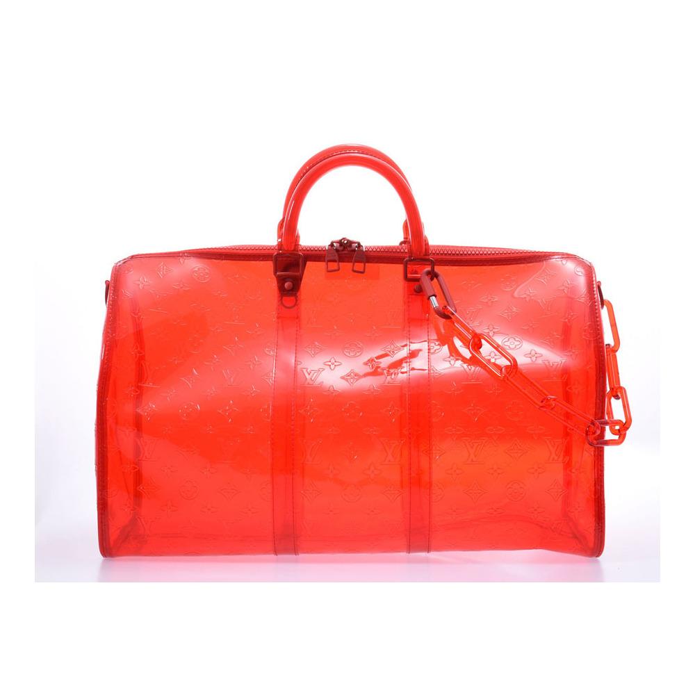 ルイ・ヴィトン (Louis Vuitton) ルイヴィトン キーポルバンドリエール50 ヴァージル 赤 クリア M53274 メンズ レディース PVC ボストンバッグ 未使用 美品 LOUIS VUITTON ストラップ付 中古 銀蔵