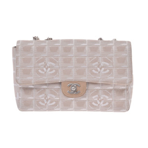 Chanel New Travel Line Chain Shoulder Bag Beige Ladies Nylon AB Rank CHANEL Galla Used Ginzo