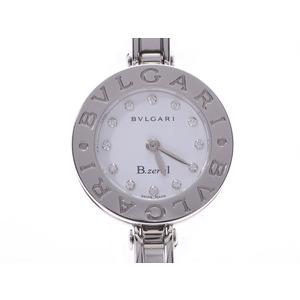 BVLGARI B-ZERO bangle watch white dial 12P diamond BZ22S Ladies SS Quartz A rank used Ginzo