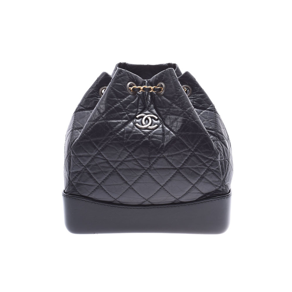 シャネル(Chanel) シャネル ガブリエル バックパック 黒 G/SV金具 レディース カーフ リュック Aランク 美品 CHANEL 中古 銀蔵
