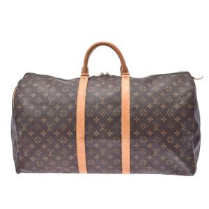 Louis Vuitton Monogram Kiepol 55 Brown M41424 Men's Genuine Leather Boston Bag B Rank LOUIS VUITTON Used Ginzo