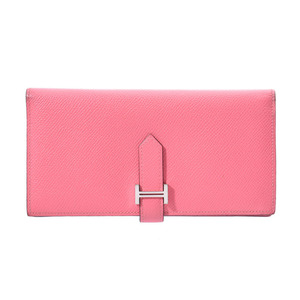 Hermes Beansfre Rose Azule A Engraved Ladies Vaux Epson Long Purse B Rank HERMES Box Used Ginzo