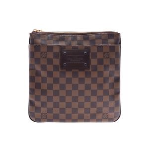 ルイ・ヴィトン (Louis Vuitton) ルイヴィトン ダミエ ポシェットプラット ブルックリン ブラウン N41100 メンズ レディース 本革 ショルダーバッグ Aランク LOUIS VUITTON 中古 銀蔵