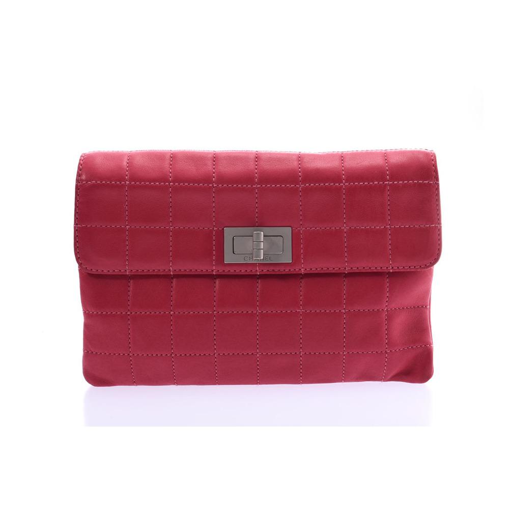 シャネル(Chanel) シャネル 2.55 チョコバー クラッチバッグ ピンク SV金具 レディース ラムスキン Bランク CHANEL 中古 銀蔵