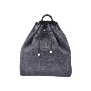 CHANEL Deauville Backpack Black G Brackets Women's Tweed Rucksack Unused Beautiful Products Galla Used Ginzo