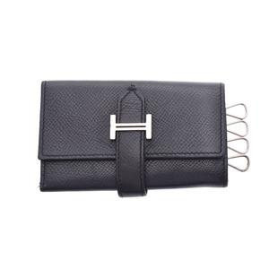 HERMES BEAN 4 key case black women's men's Epsom leather