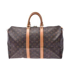 Louis Vuitton Monogram Kiepol 45 Brown M41428 Women's Genuine Leather Boston Bag B Rank LOUIS VUITTON Used Ginzo