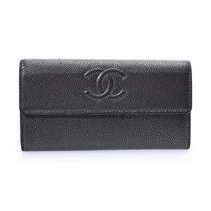 シャネル(Chanel) シャネル 二ツ折長財布 グレー レディース キャビアスキン Bランク CHANEL