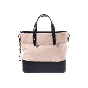 Chanel Gabrielle De Hobo Large Black / Beige Ladies Aged Calf 2WAY Bag A Rank Beauty Product CHANEL With Strap Used Ginzo