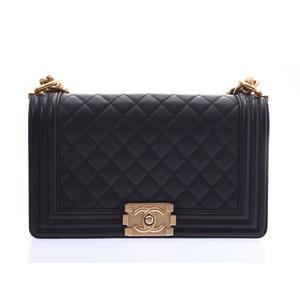 シャネル(Chanel) シャネル ボーイシャネル チェーンショルダーバッグ 黒 G金具 レディース レザー Bランク CHANEL ギャラ 中古 銀蔵