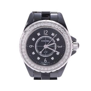 シャネル J12 29mm ベゼルダイヤ 8Pダイヤ H2571 レディース 黒セラミック クオーツ 腕時計 Aランク CHANEL 中古 銀蔵